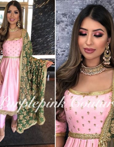 Baby Pink Anarkali Green Chiffon Gold Applique Dupatta