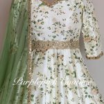 Off White Floral Ankle Length Anarkali Megandi Green Dupatta