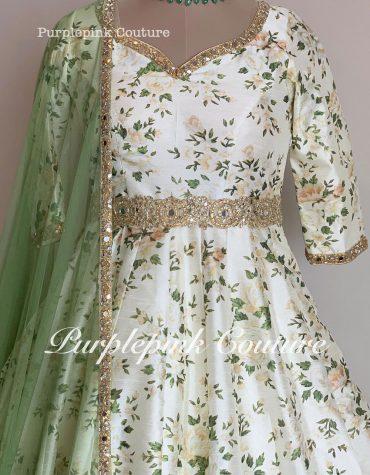 Off White Floral Ankle Length Anarkali Megandi Green Dupatta