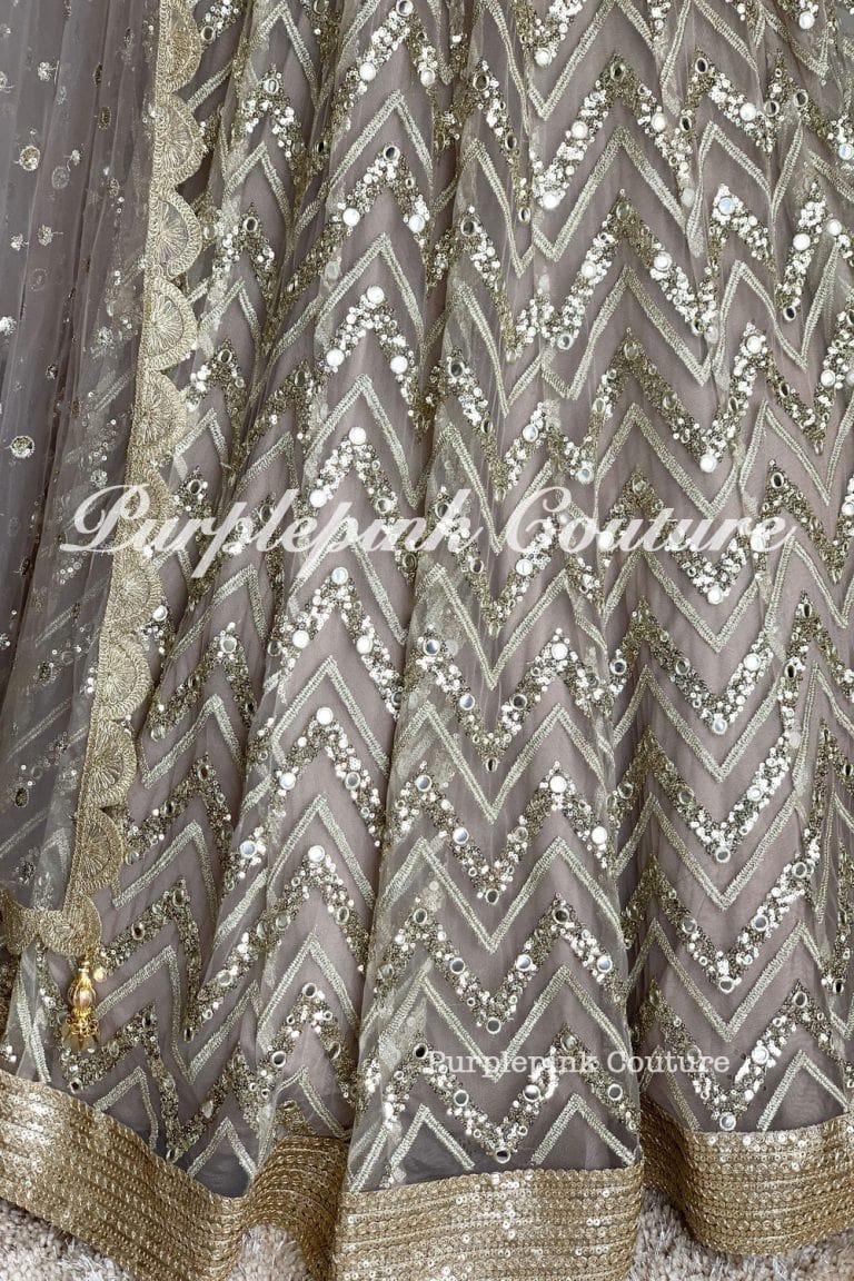Metallic Grey Foil Mirror Embroidered Lehenga Choli
