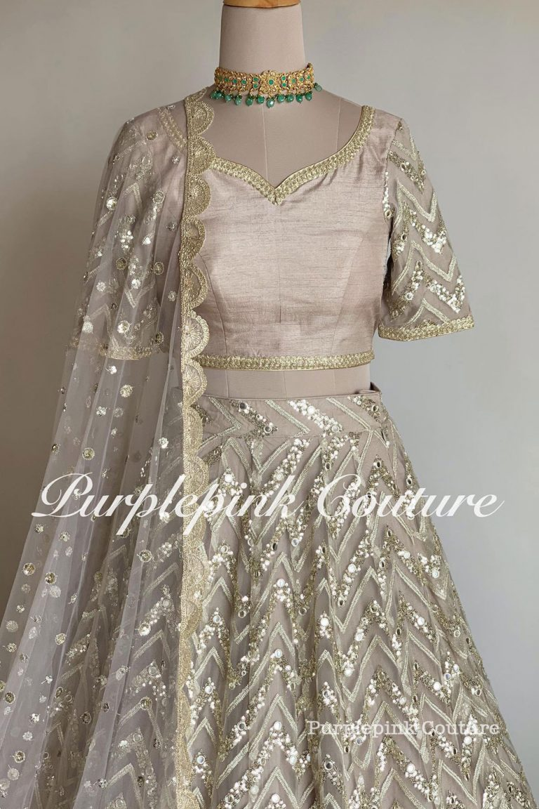 Metallic Grey Foil Mirror Embroidered Lehenga Choli