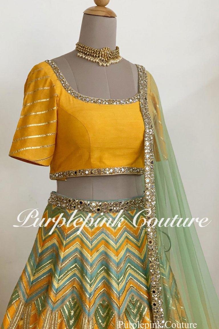 Yellow Heavy Thread Zari Embroidered Lehenga Silk Choli