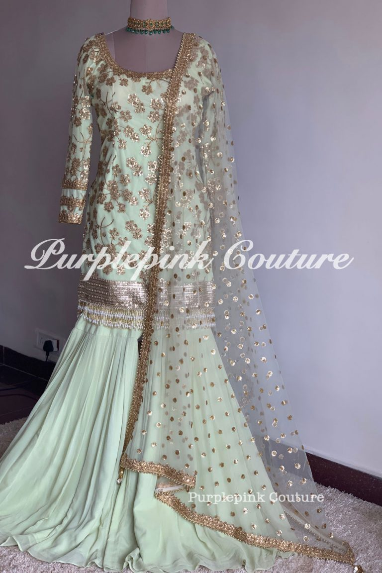 Pistachio Kashish Sharara Set Suit: Beautiful Sequins and Zari work on Net base
