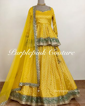 Yellow Chanderi Lehenga Peplum Top Soft Net Dupatta