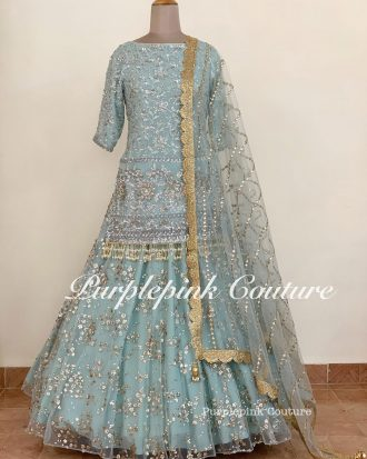 Duck Blue Lehenga Set Frosted Long Top Foil Mirror Dupatta