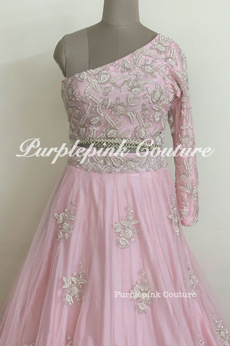 Baby Pink Hand Embroidered Lehenga Choli