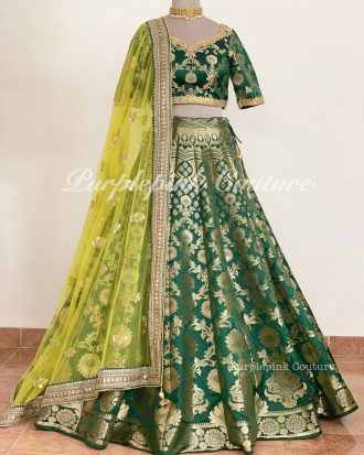 Pure Banarsi Rama Green Lehenga Choli Yellow Dupatta