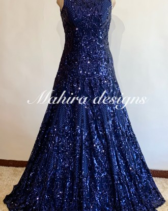 Intricate Net Base Navy Blue Cocktail Gown