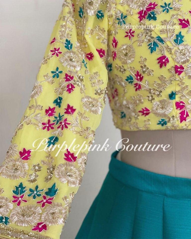 Jhilmil Lehenga Set Beautiful Combination Yellow Hand Embroidered Choli Teal Raw Silk Lehenga