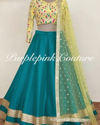 Jhilmil Lehenga Set Beautiful Combination Yellow Hand Embroidered Choli Teal Raw Silk Lehenga