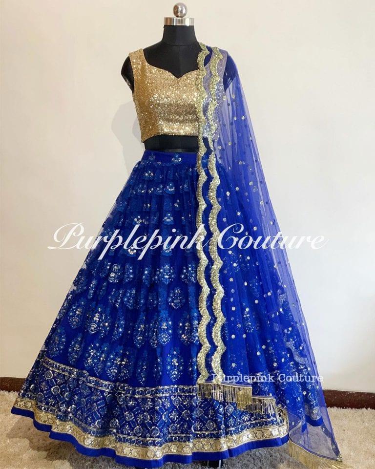 Royal Blue Gold Lehenga Choli