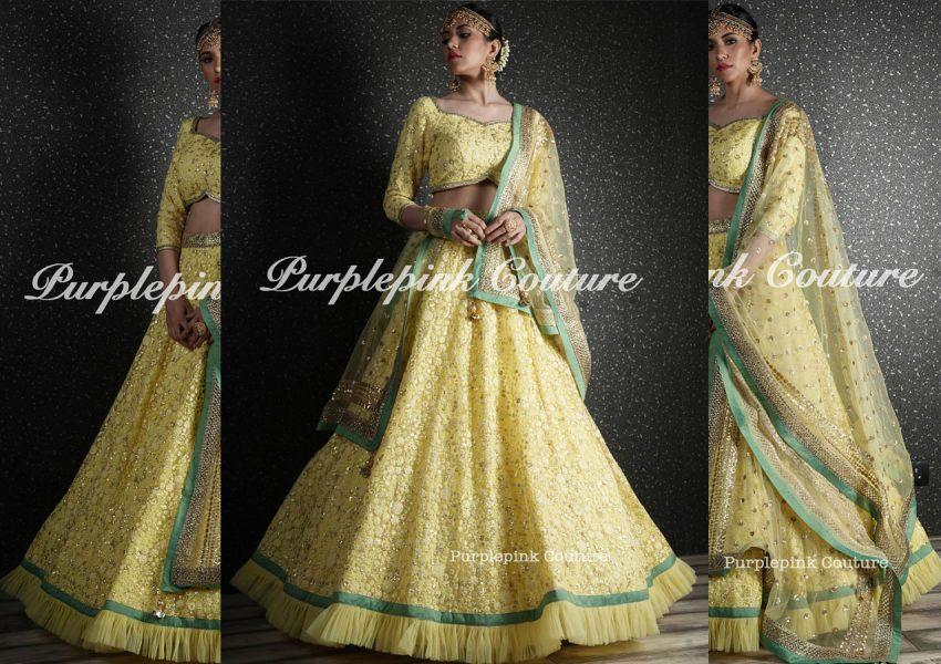 Lime Yellow Heavy Thread Sequins Embroidered Lehenga Choli