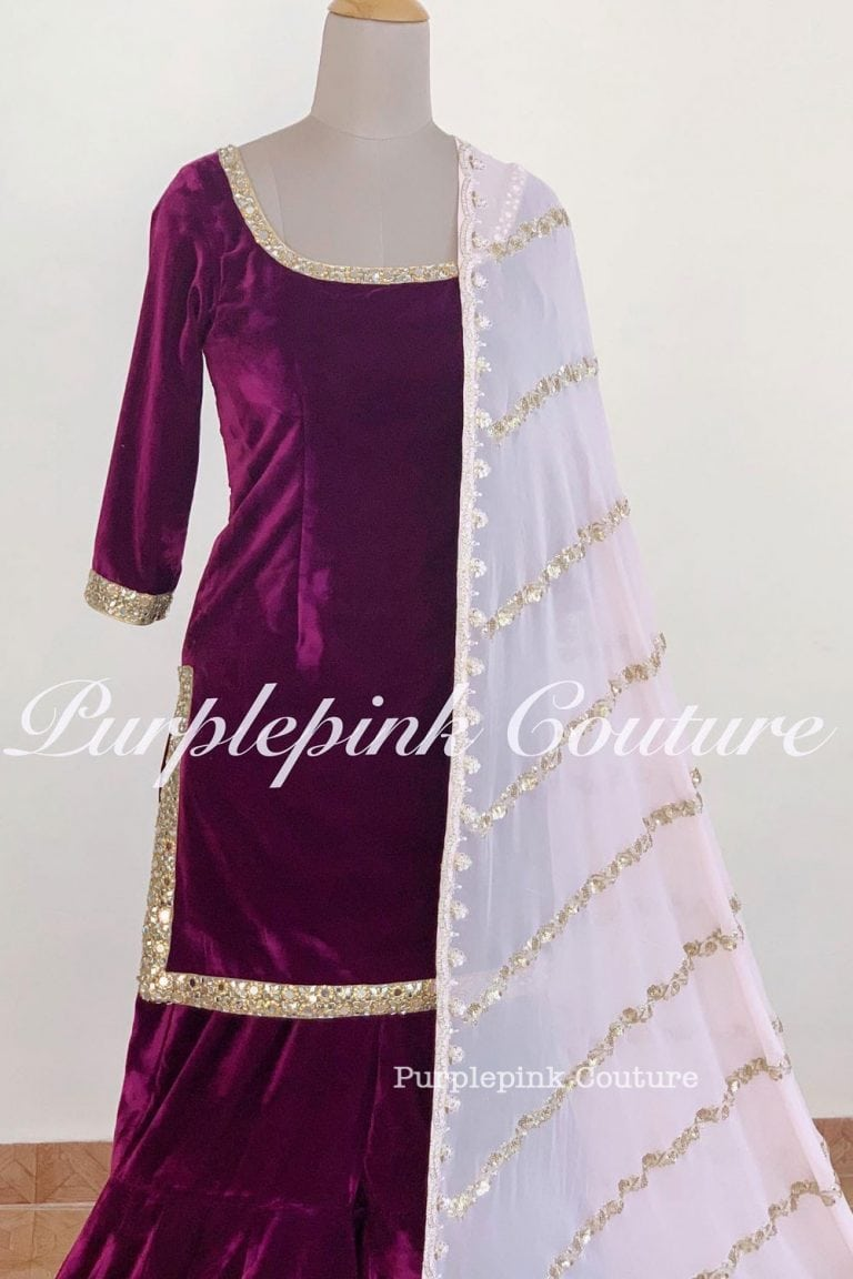 Arnaaz Plump Pink Velvet Sharara Set