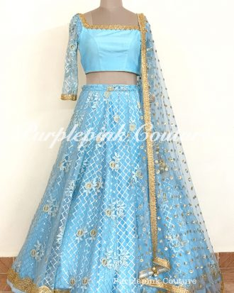 Jasmine Blue Thread Sequins Embroidered Lehenga Choli
