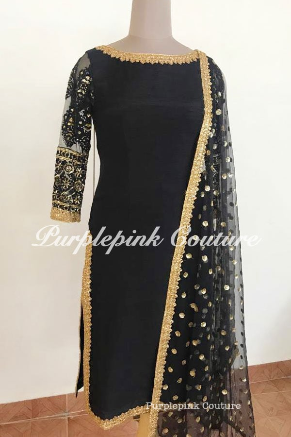 Black Gold Silk Suit Set