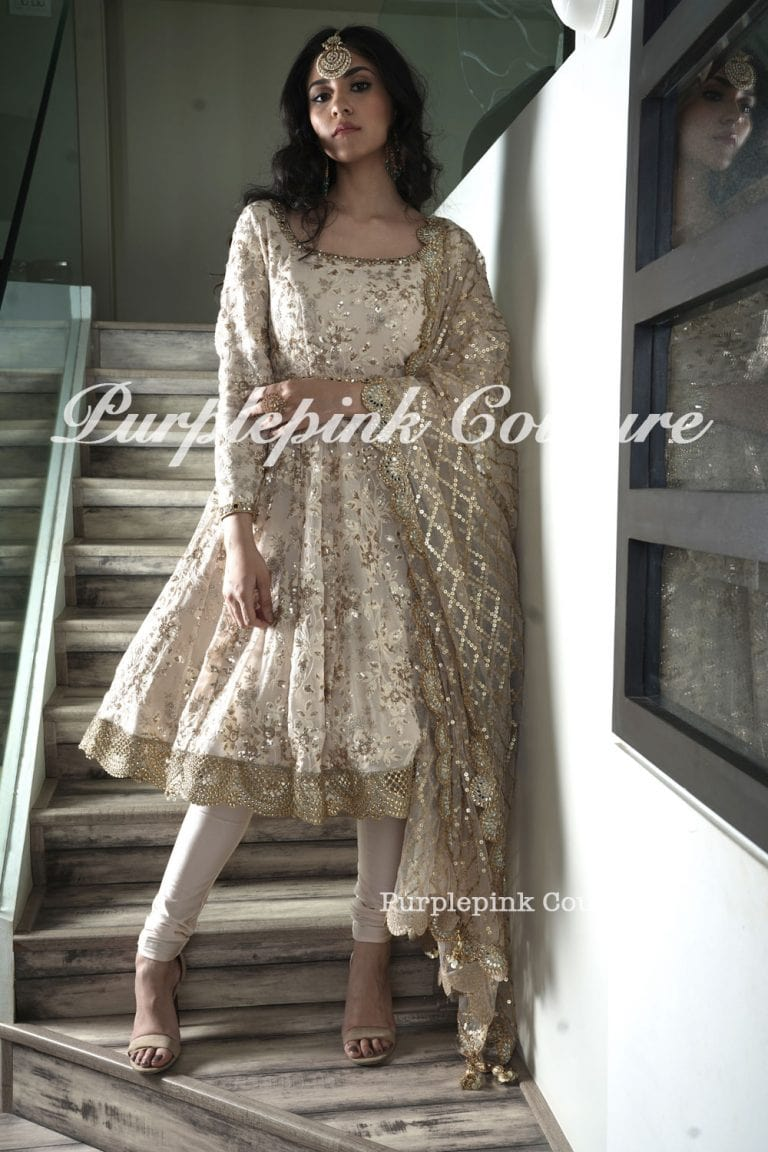 Laila Ivory Gold Georgette Base Beautiful Sequins Thread Embroidered