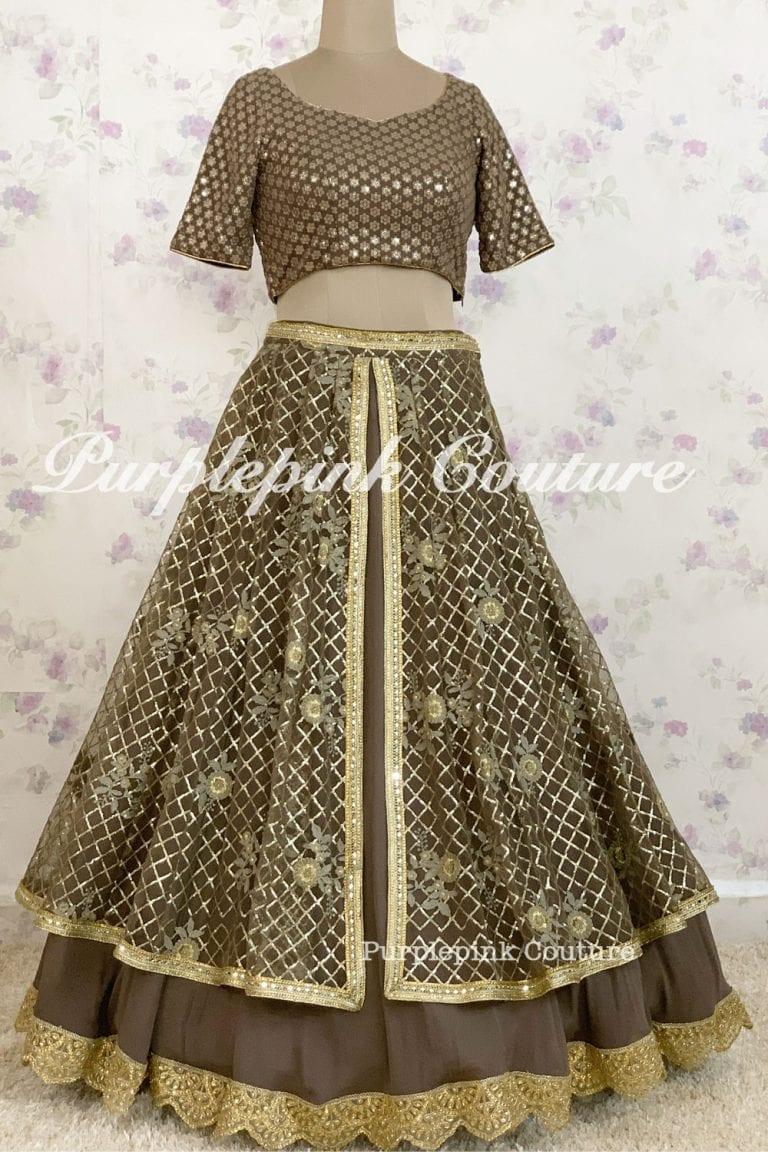Shanaya Charcoal Grey Thread Sequins Embroidered Lehenga Choli