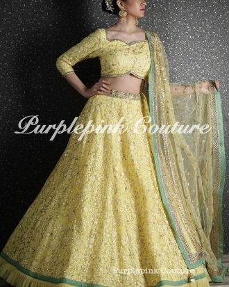 Lime Yellow Heavy Thread Sequins Embroidered Lehenga Choli