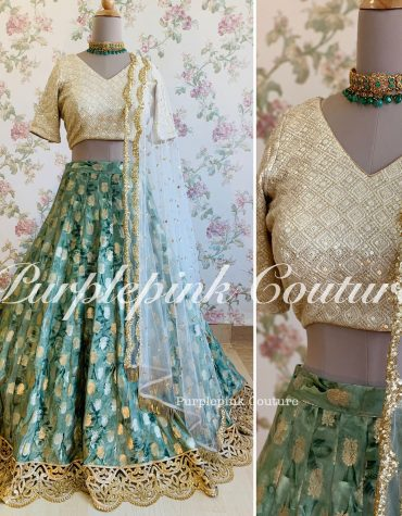Banarasi Booti Floral Print Silk Lehenga Thread Sequins Work Choli