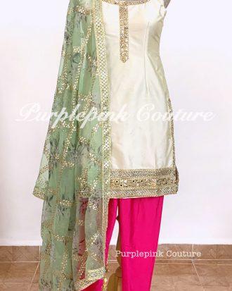 Silk Suit Floral Organza Dupatta