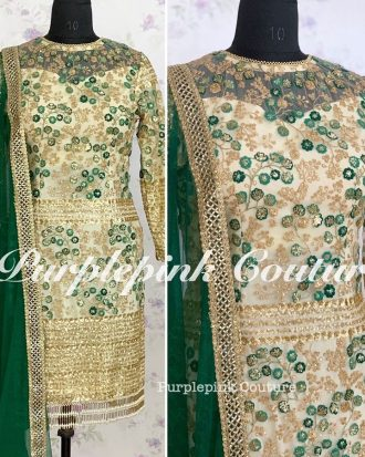 Raina Off White Suit Gold Green Thread Sequins Embroidery