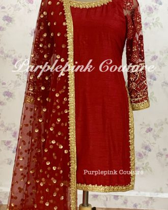 Burgandy Gold Silk Suit Set