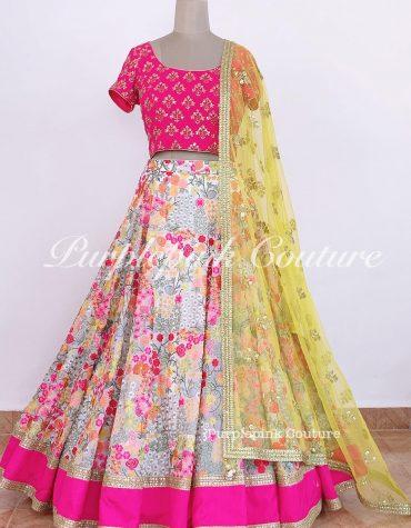 Bahar Georgette Floral Lehenga Hand Embroidered Choli