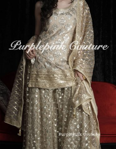 Kyara Gota Motif Silk Suit Foil Mirror Net Sharara Heavy Sequins Net Jaal Dupatta