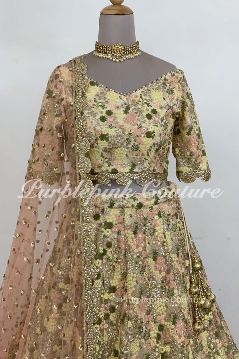 Mahek Heavy Thread Sequins Embroidered Net Lehenga Choli Peach Net Dupatta
