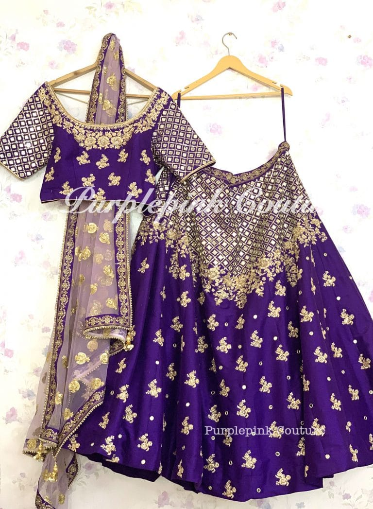 Purple Raw Silk Complete Hand Mirror Embroidered Lehenga Choli Lilac Net Dupatta