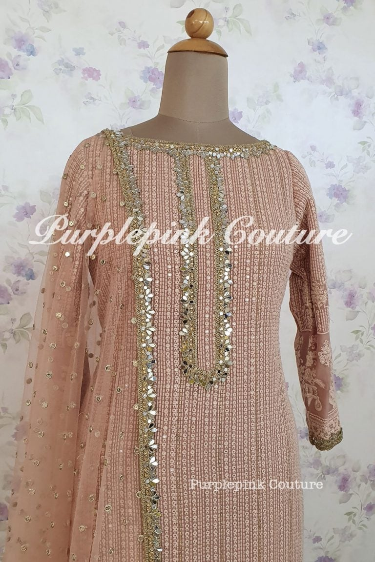Rose Gold Georgette Base Lucknowi Suit