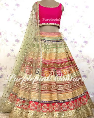 Rangeela Raw Silk Heavy Multi Coloured Lehenga Pink Raw Silk Choli Net Booti Dupatta