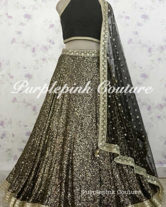 Black Georgette Heavy Sequins Embroidered Lehenga Choli
