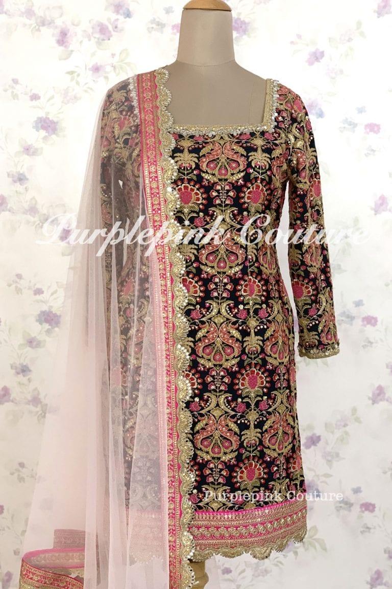 Morni Silk Base Heavy Thread Sequins Embroidered Suit Lycra Pajami Net Dupatta