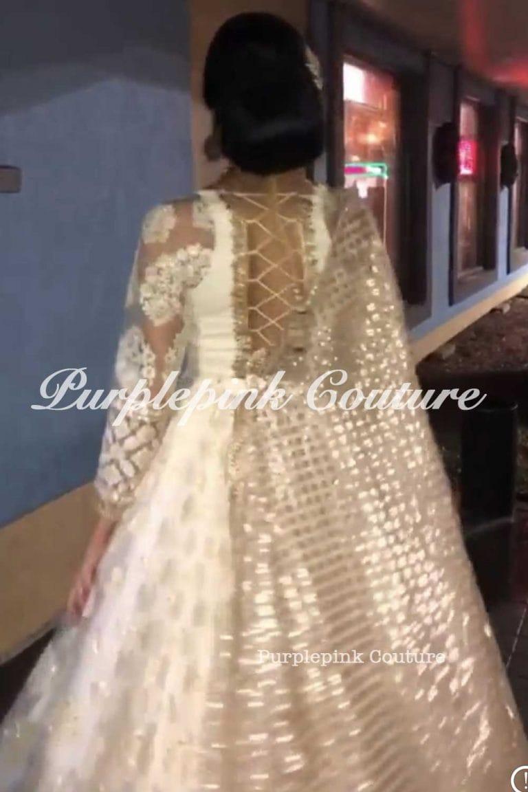 Ivory Gold Thread Sequins Embroidery Lehenga Choli