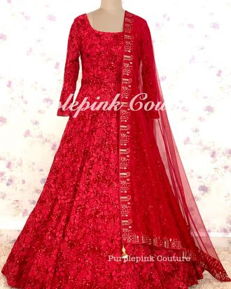 LEELA Red Floor Length Anarkali