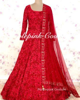 LEELA Red Floor Length Anarkali
