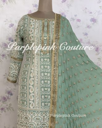 Sage Blue Lucknowi Suit