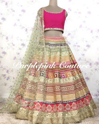 Rangeela Raw Silk Heavy Multi Coloured Lehenga Pink Raw Silk Choli Net Booti Dupatta