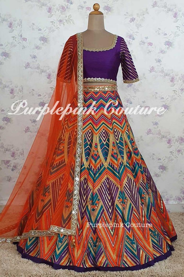 Safina Heavy Thread Zari Embroidered Lehenga Silk Choli