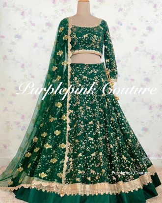 Natasha Forest Green Heavy Thread Sequins Embroidered Lehenga Choli