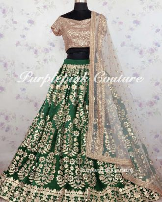 Iqra Green Georgette Heavy Gota Embroidered Lehenga Set
