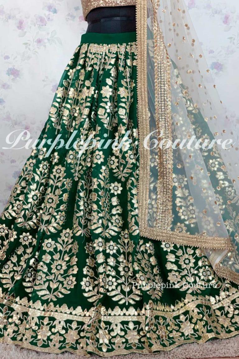 Iqra Green Georgette Heavy Gota Embroidered Lehenga Set