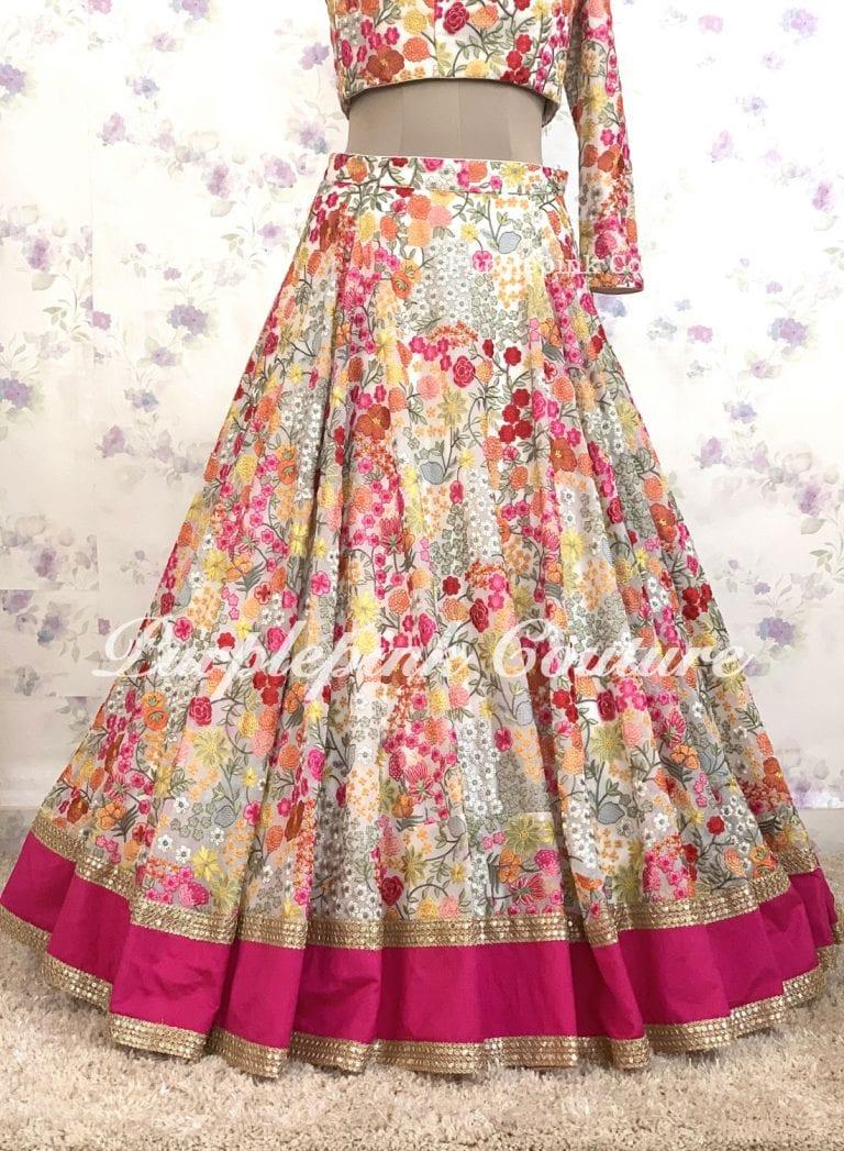 Bahar Georgette Floral Thread Embroidered Lehenga Choli