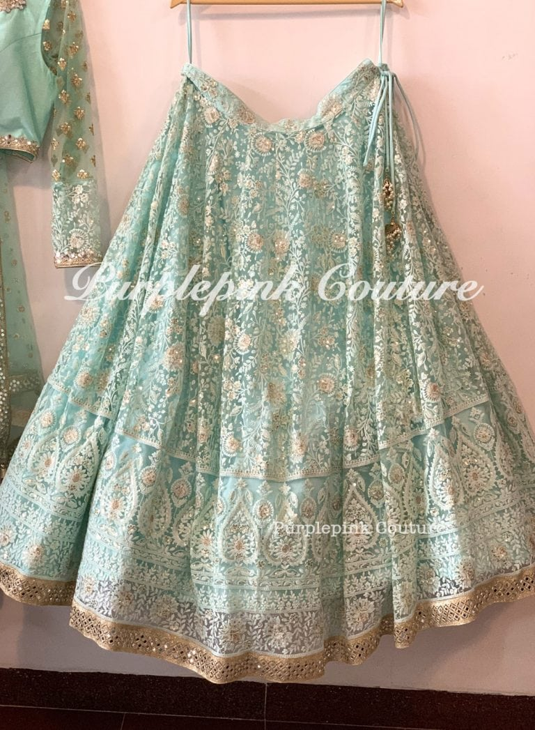 Kia Aqua Blue Net Heavy Thread Sequins Embroidered Lehenga Choli Dupatta