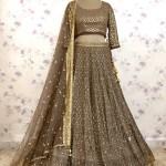 Ash Grey Georgette Lucknowi Kali Lehenga Sequins Thread Embroidered Choli