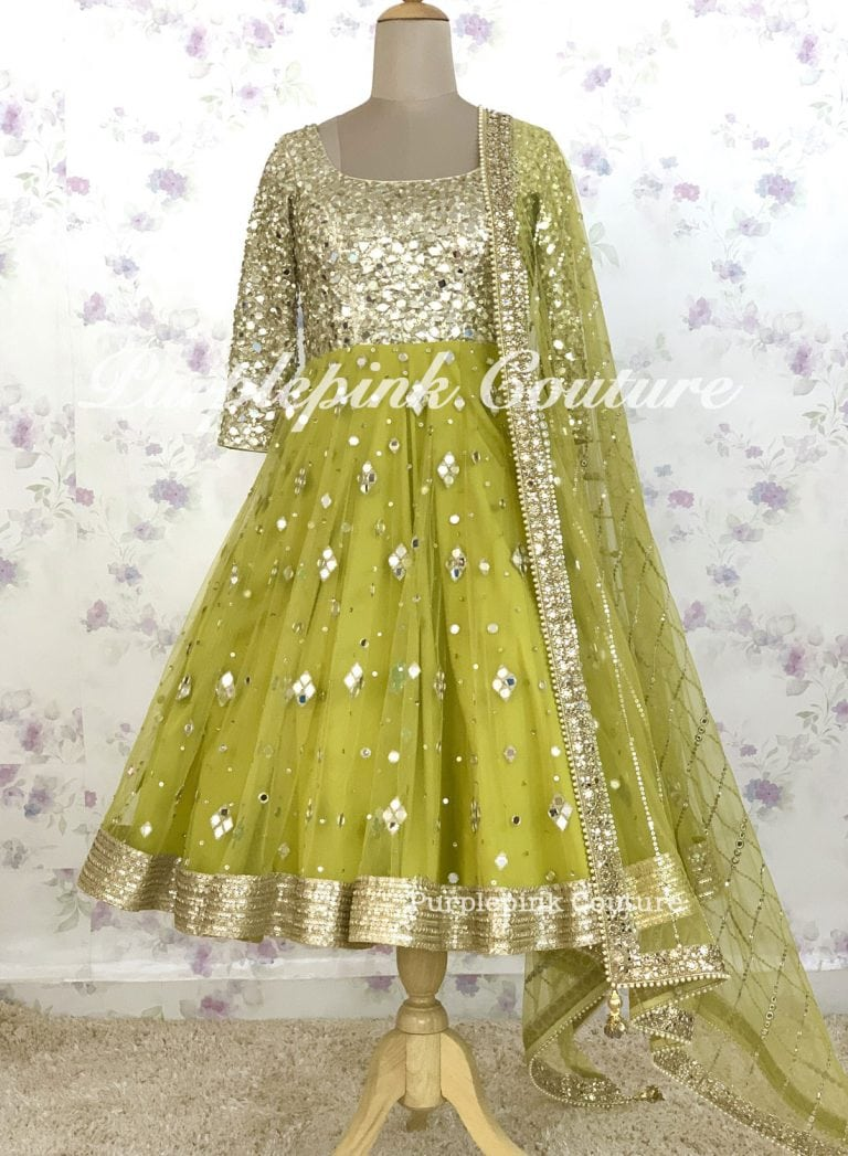 Chandni Mid Length Anarkali Hand Embroidered Mirror Work