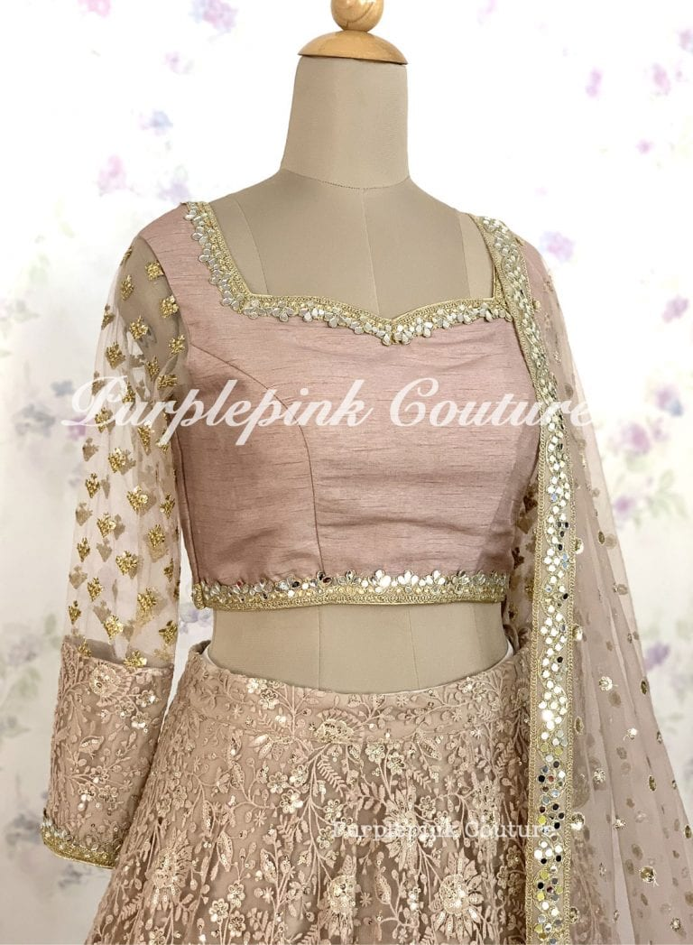 Kia Pale Mauve Net Heavy Thread Sequins Embroidered Lehenga Choli Dupatta
