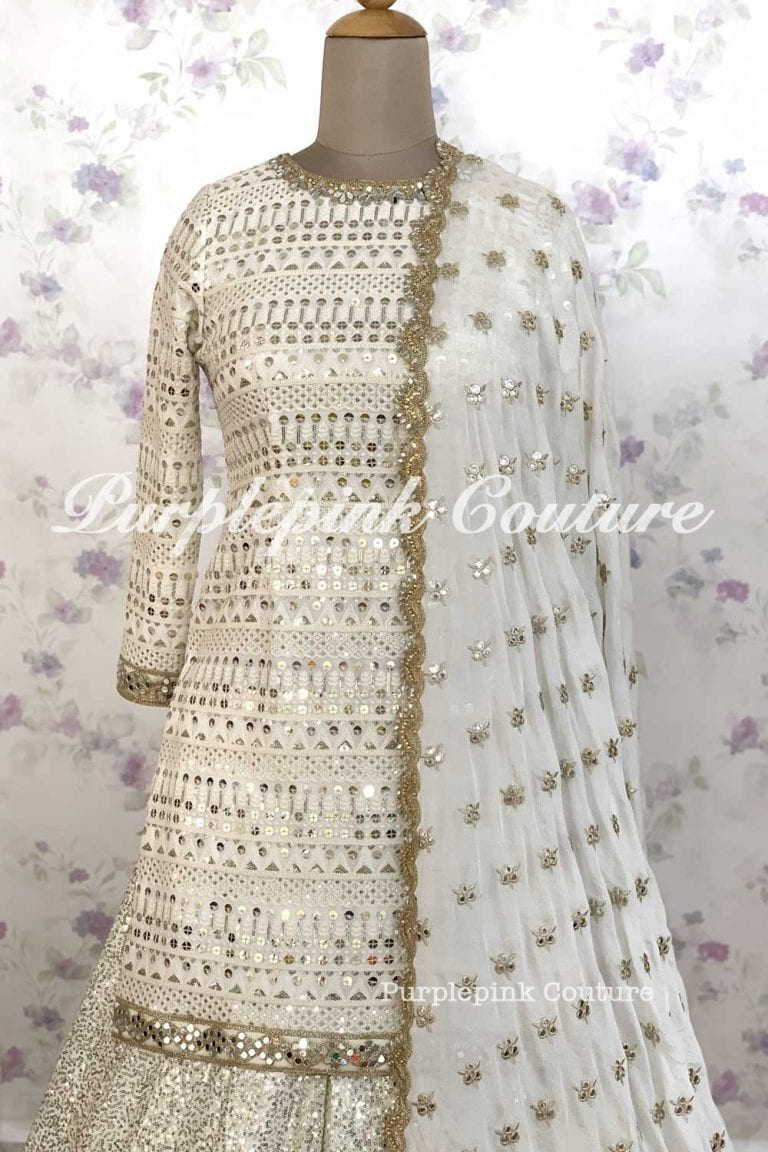 Chandni 2.0 Georgette Heavy Sequins Mirror Embroidered Suit Sequins Sharara Foil Mirror Flowers Dupatta
