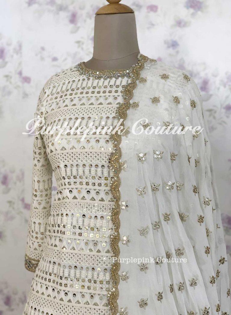 Chandni 2.0 Georgette Heavy Sequins Mirror Embroidered Suit Sequins Sharara Foil Mirror Flowers Dupatta